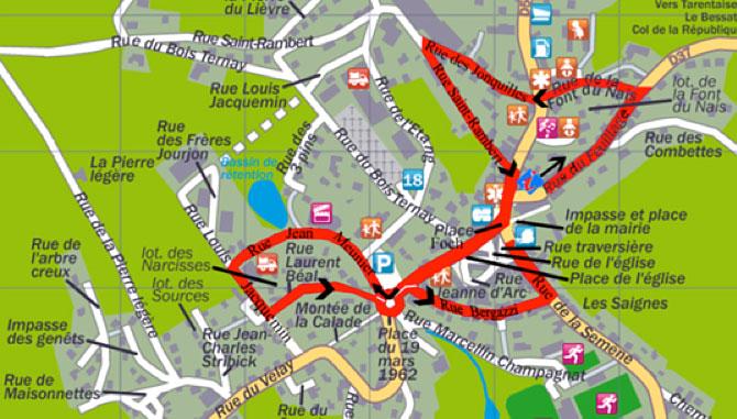 plan du sentier de ville à la découverte du bourg