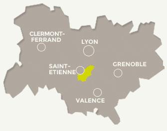 situation géographique de Saint-Genest-Malifaux en Région Rhône-Alpes Auvergne