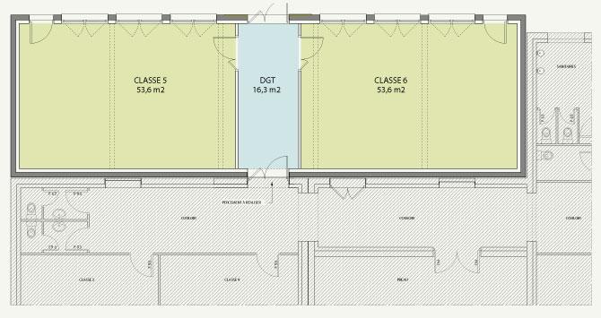 plan du projet d'extension de l'école de l'Étang