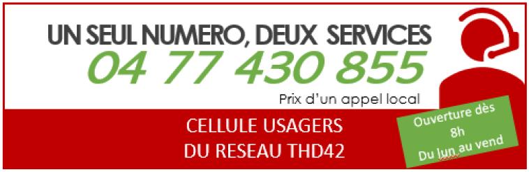 numéro de la Cellule Usagers Fibre Optique 04 77 430 855